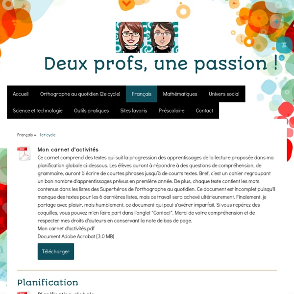 1er cycle - Site de deuxprofsunepassion !