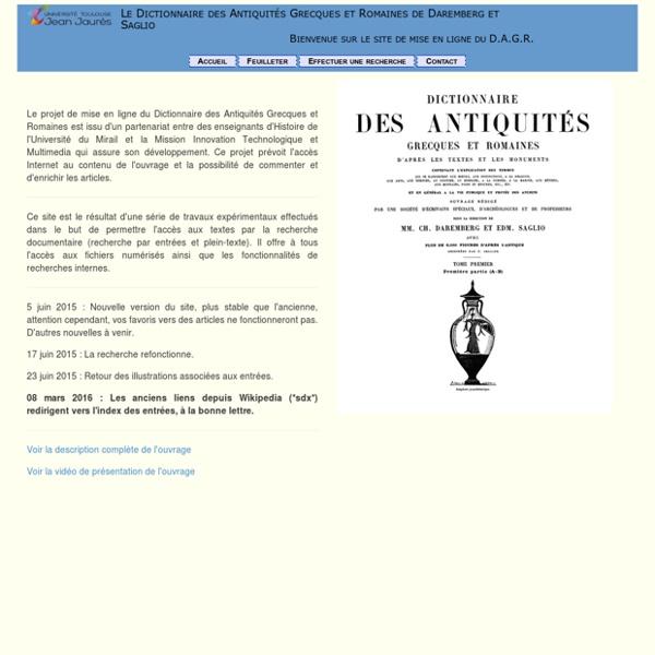 Dictionnaire des Antiquités Grecques et Romaines de Daremberg et Saglio