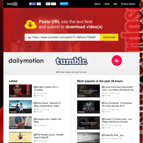 SaveDeo: The easiest way how to download and save videos from Youtube, Facebook, Instagram, Vimeo, Adobe.tv, Soundcloud and others