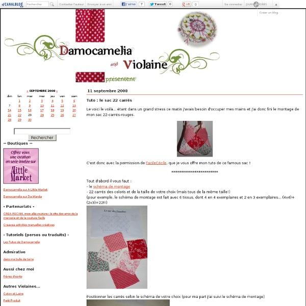 Tuto : le sac 22 carrés - Damocamelia & Violaine présentent