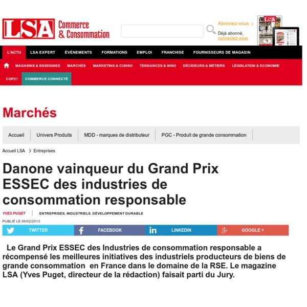 Danone vainqueur du Grand Prix ESSEC des...
