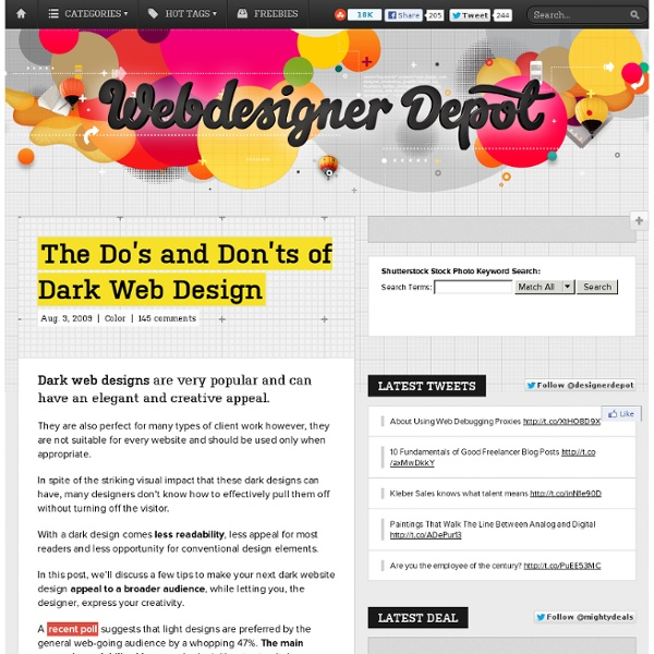 The Do's and Don'ts of Dark Web Design