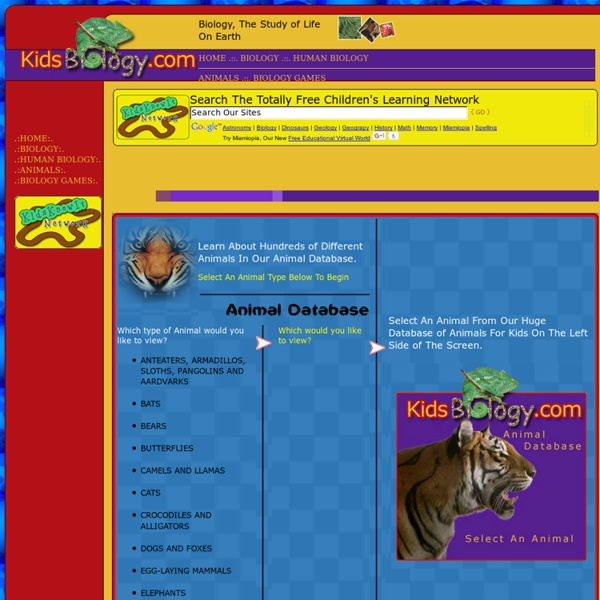 Animal Database - Animals For Kids - By KidsBiology.com