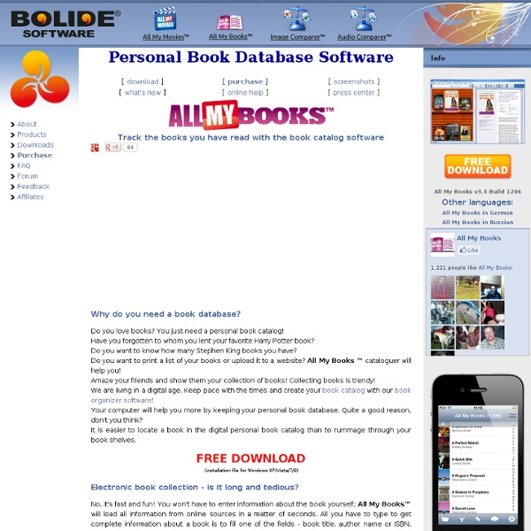 All My Books - Book Inventory Software, Ebook Collection Manager, Book Database Program