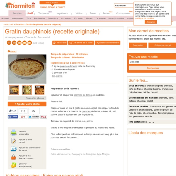 Gratin dauphinois (recette originale) : Recette de Gratin dauphinois (recette originale)