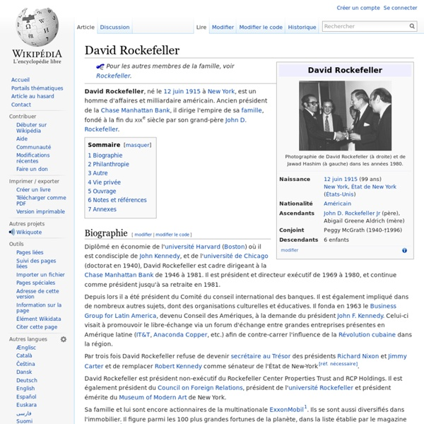 David Rockefeller - 12 juin 1915 à New York Wikipédia