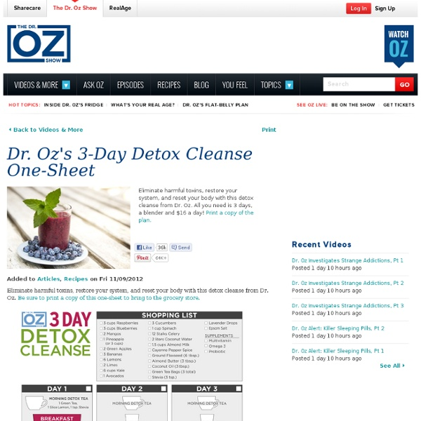 Oz's 3-Day Detox Cleanse One-Sheet