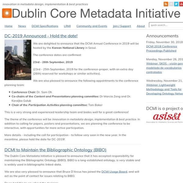 DCMI Home: Dublin Core® Metadata Initiative (DCMI)