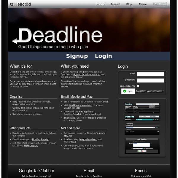 Deadline: Reminders through web, email, jabber, mobile and more