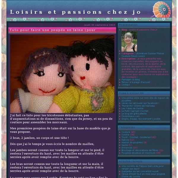 Tuto pour faire une poupée en laine (pour débutante en tricot) - Loisirs et passions chez jo