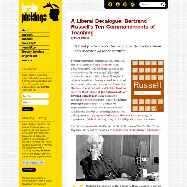 A Liberal Decalogue: Bertrand Russell's 10 Commandments of Teaching