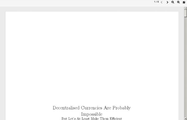 Devises décentralisées ? Probablement impossible...