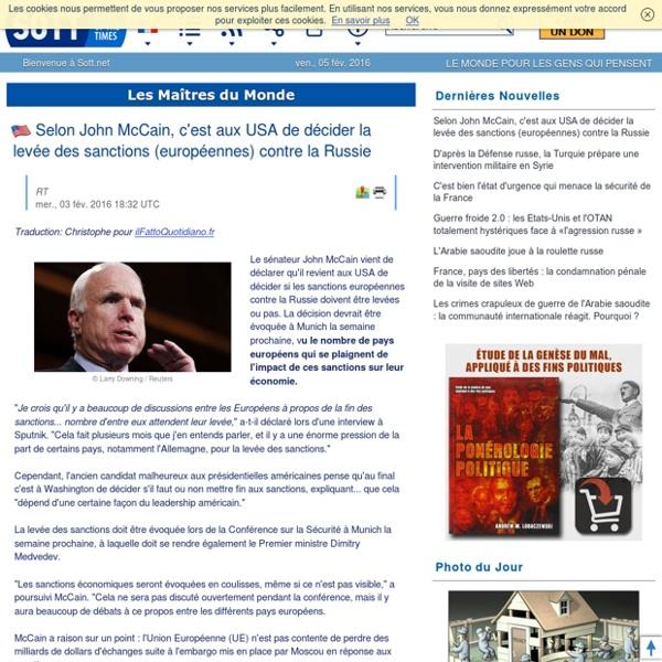 Selon John McCain, c'est aux USA de décider la levée des sanctions (européennes) contre la Russie