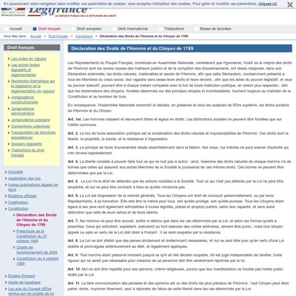 Déclaration des Droits de l'Homme et du Citoyen de 1789 / Constitution / Droit français / Accueil