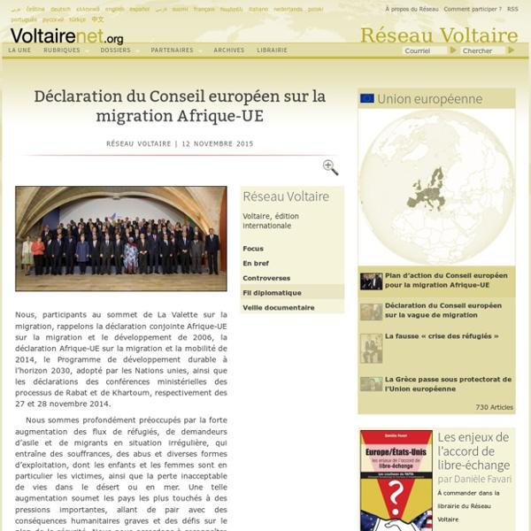 Déclaration du Conseil européen sur la migration Afrique-UE