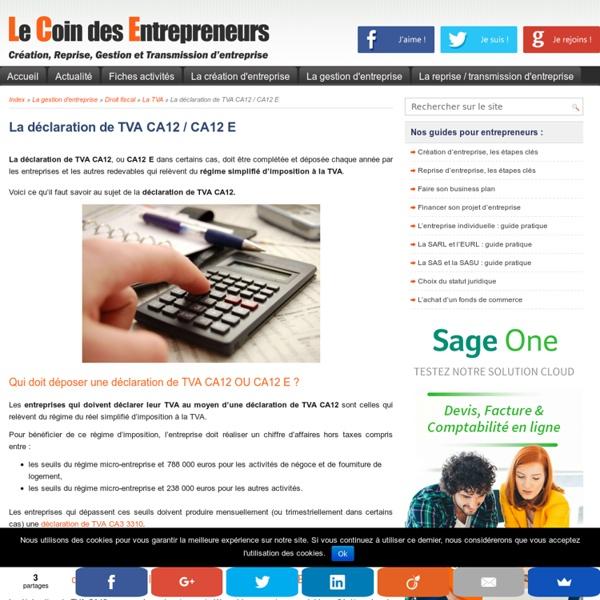 La déclaration CA12 du régime simplifié d'imposition à la TVA