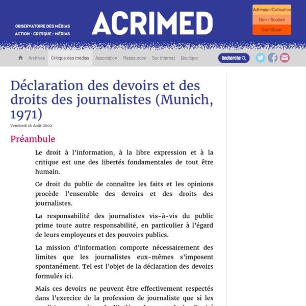 Déclaration des devoirs et des droits des journalistes (Munich, 1971)