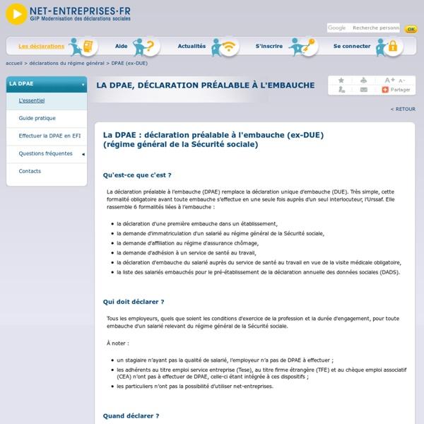 La déclaration préalable à l'embauche (DPAE)