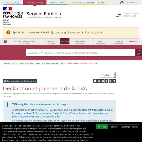 Déclaration et paiement de la TVA - professionnels