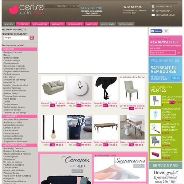 Cerise sur la déco: Boutique de Décoration Design, Meuble contemporain, Luminaire Objet Tendance.
