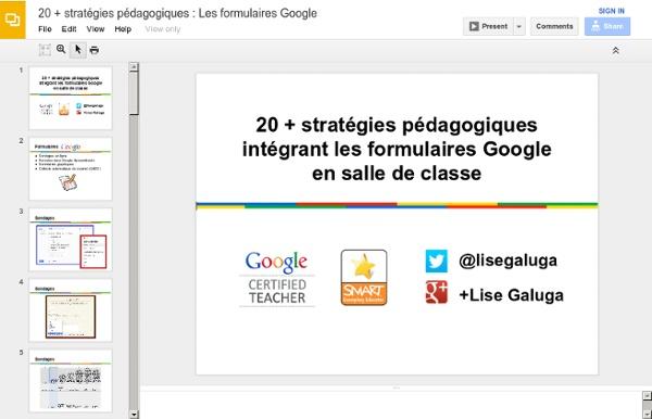 20 + stratégies pédagogiques : Les formulaires Google