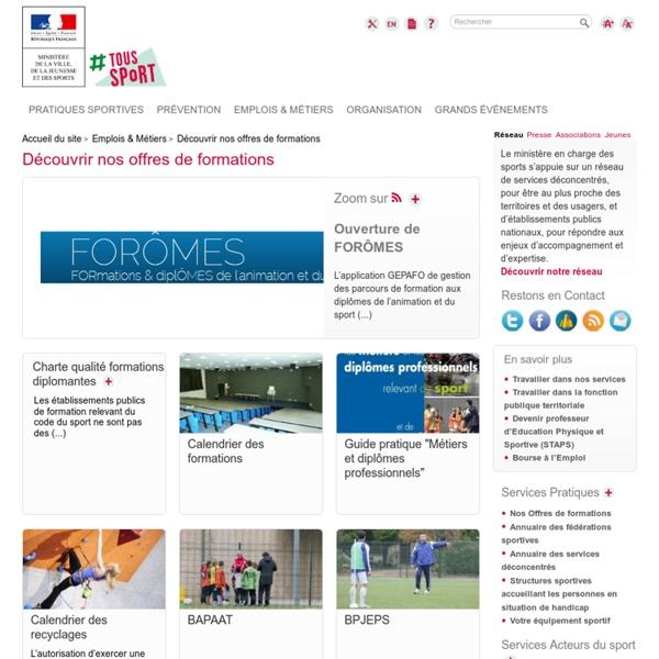 Sports.gouv.fr : diplômes et calendrier des formations