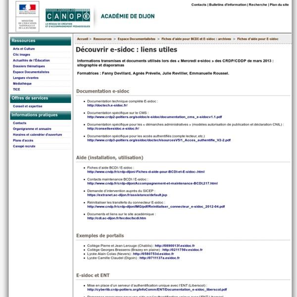 Découvrir e-sidoc : liens utiles