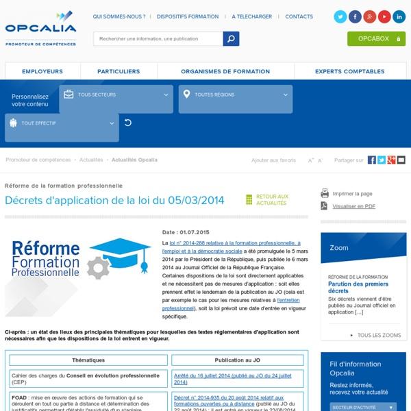 Décrets d'application de la loi du 05/03/2014