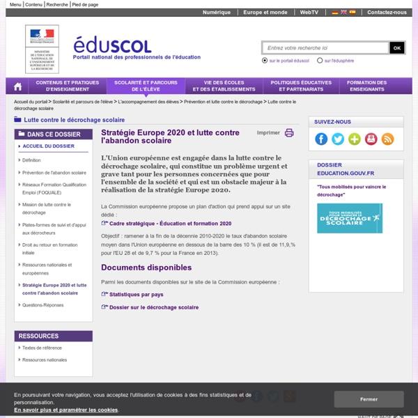 Remédiation du décrochage scolaire - Stratégie Europe 2020 et lutte contre l'abandon scolaire