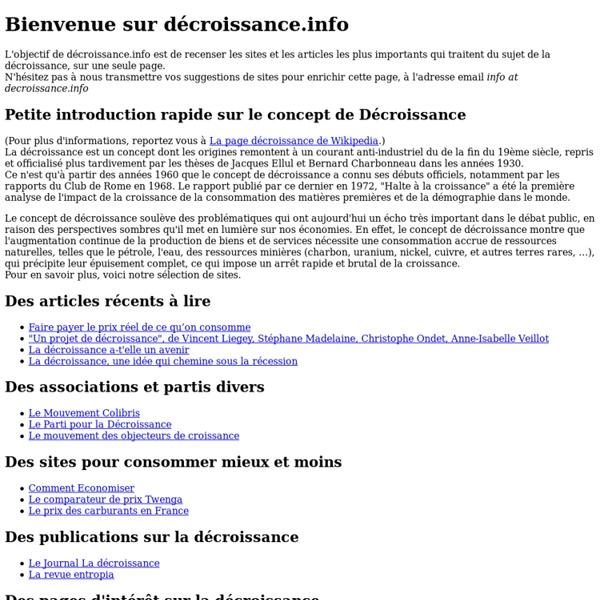 Decroissance.info: Top 100+ des sites sur la décroissance