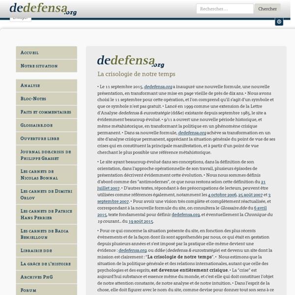 Dedefensa.org : Accueil