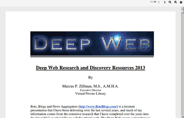 Deep Web Research and Discovery Resources 2013