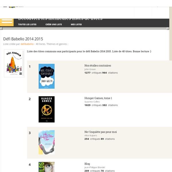 Défi Babelio 2014 2015 - Liste de 40 livres - Babelio