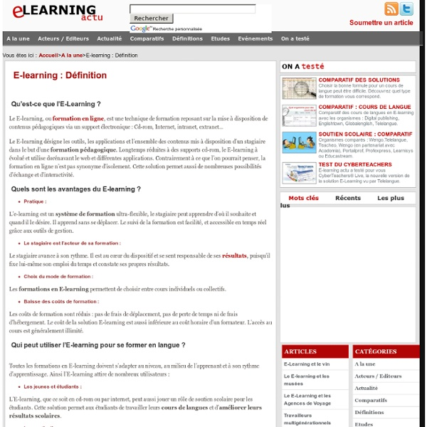 E-learning : Définition