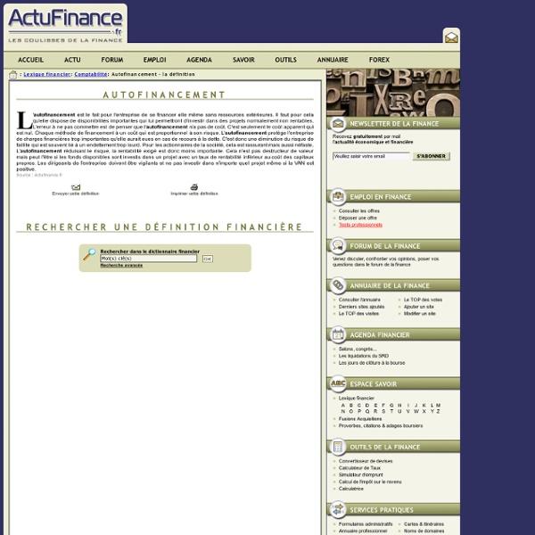 Définition Autofinancement