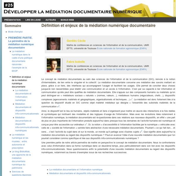 Définition et enjeux de la médiation numérique documentaire