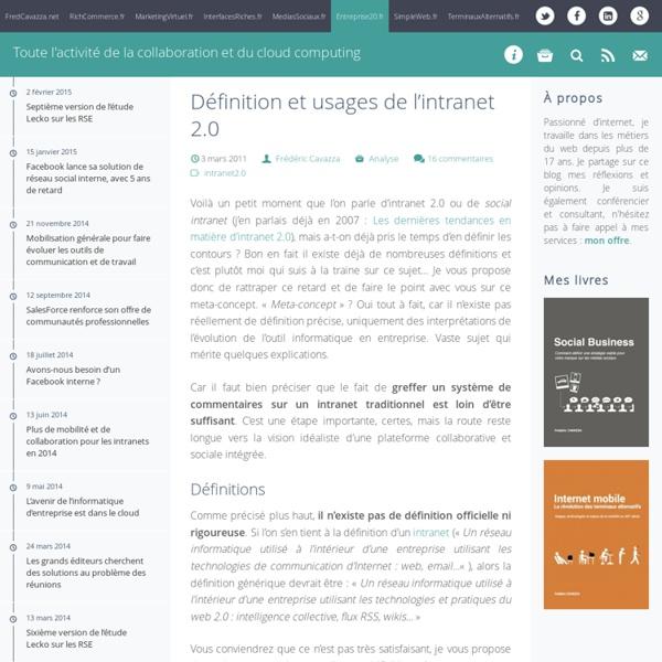 Définition et usages de l'intranet 2.0