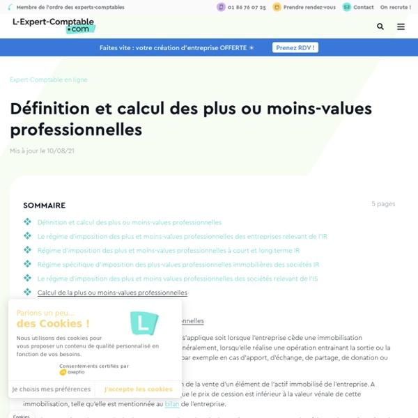 Définition et calcul des plus ou moins-values professionnelles