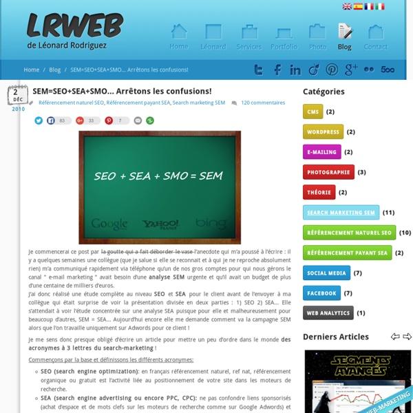 Définition de SEM=SEO+SEA+SMO (search engine marketing)