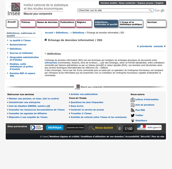 Définitions et méthodes - Échange de données informatisé / EDI