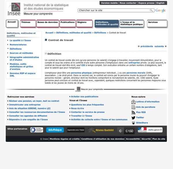 Définitions et méthodes - Contrat de travail