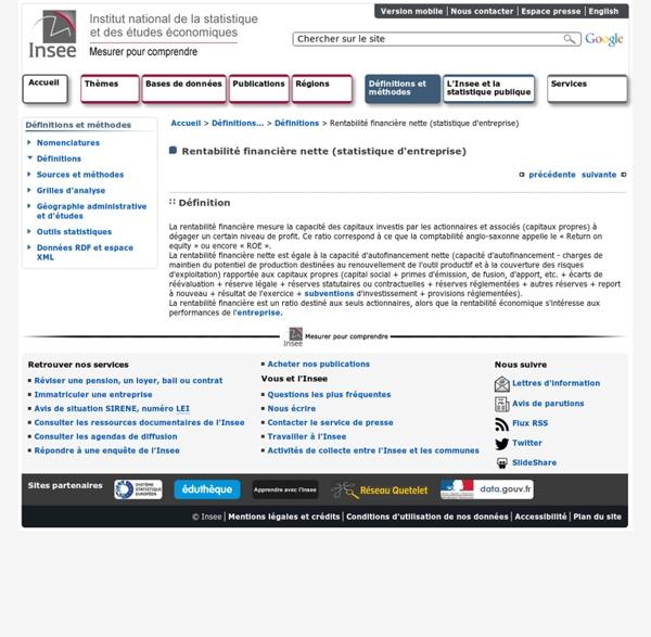 Définitions et méthodes - Rentabilité financière nette (statistique d'entreprise)