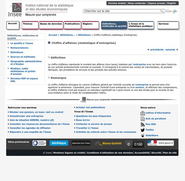 Définitions et méthodes - Chiffre d'affaires (statistique d'entreprise)