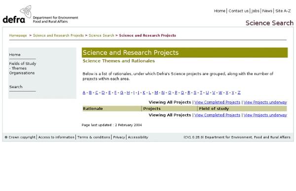 DEFRA - Liste des études de recherche finalisées ou non (avec rapports en ligne)