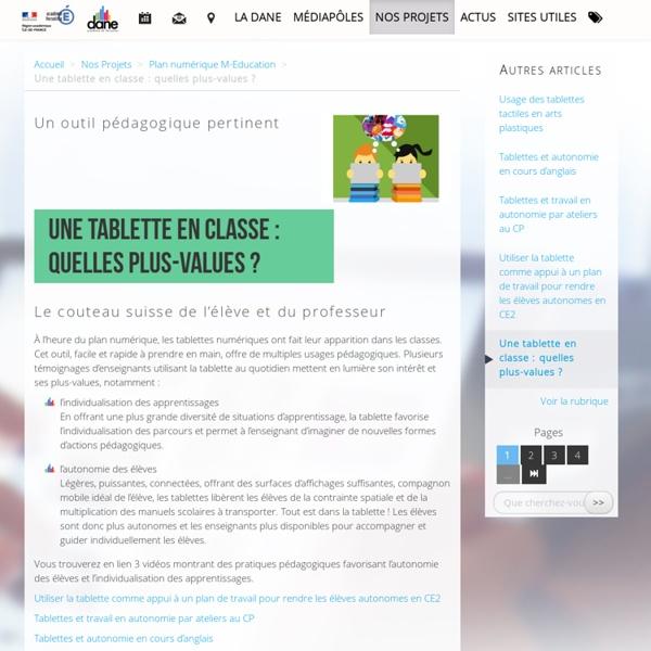 Une tablette en classe : quelles plus-values ? - Délégation académique au numérique éducatif