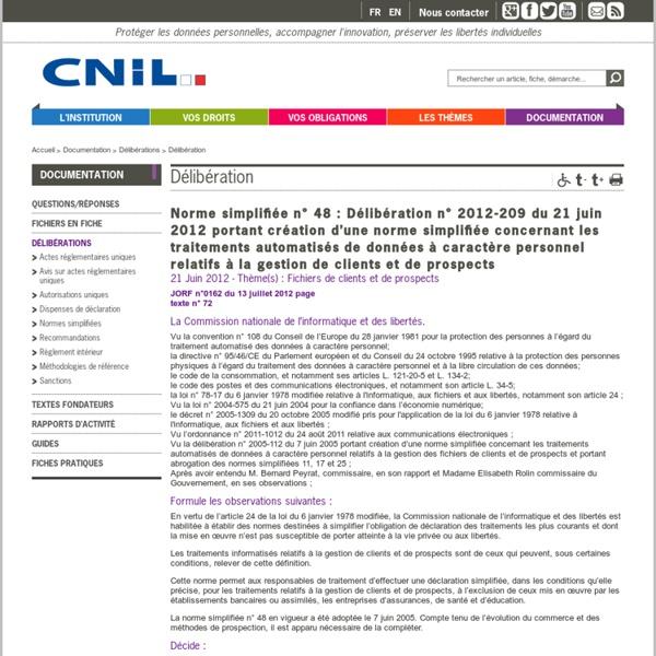 Norme simplifiée n° 48 : Délibération n° 2012-209 du21 juin 2012 portant création d'une norme simplifiée concernant...