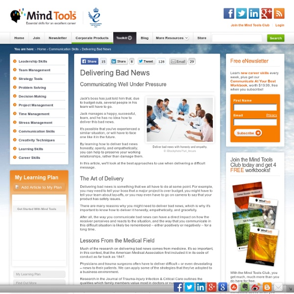 Delivering Bad News - Communication Skills Training From MindTools.com
