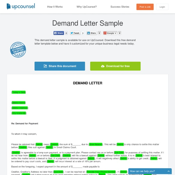 Free Demand Letter Sample  Pearltrees
