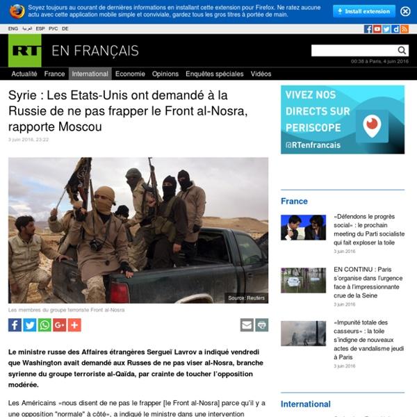 Syrie : Les Etats-Unis ont demandé à la Russie de ne pas frapper le Front al-Nosra, rapporte Moscou