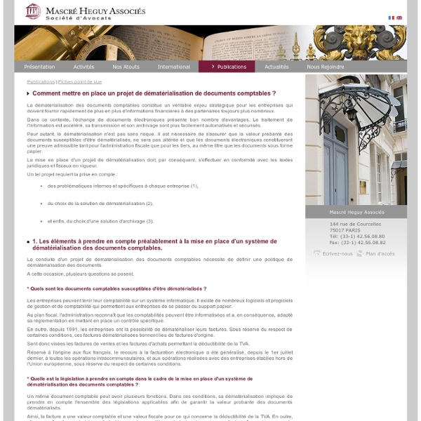 Dematerialisation de documents comptables : legislation, conservation et solutions